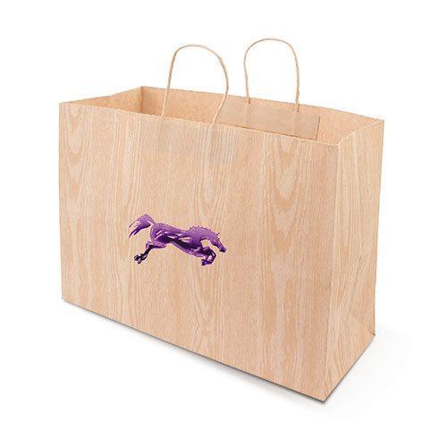 "Gift Bag - Woodgrain Jumping Horse - 16""x6""x13"""