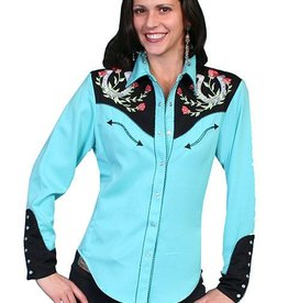 Scully Leather Women's Scully Horseshoe Embroidered Shirt - Turquoise