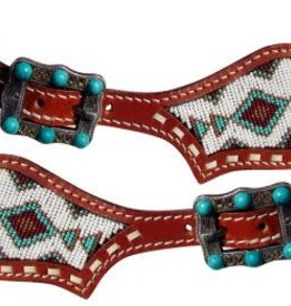 Showman Showman Turquoise Beaded Spur Straps