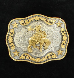 Nocona Nocona Men's Antique Silver/Antique Gold Buckle