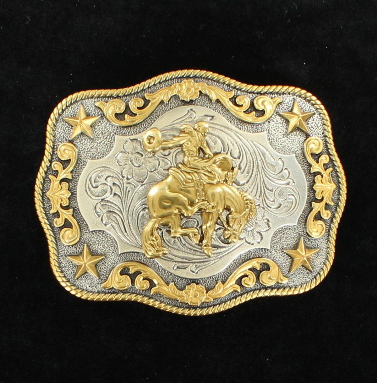 Nocona Nocona Men's Antique Silver/Antique Gold Buckle