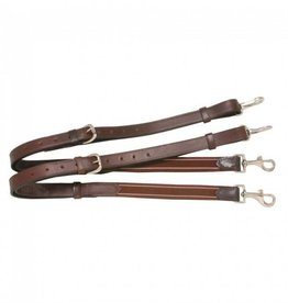 Tough-1 Leather Side Reins With Elastic dark
