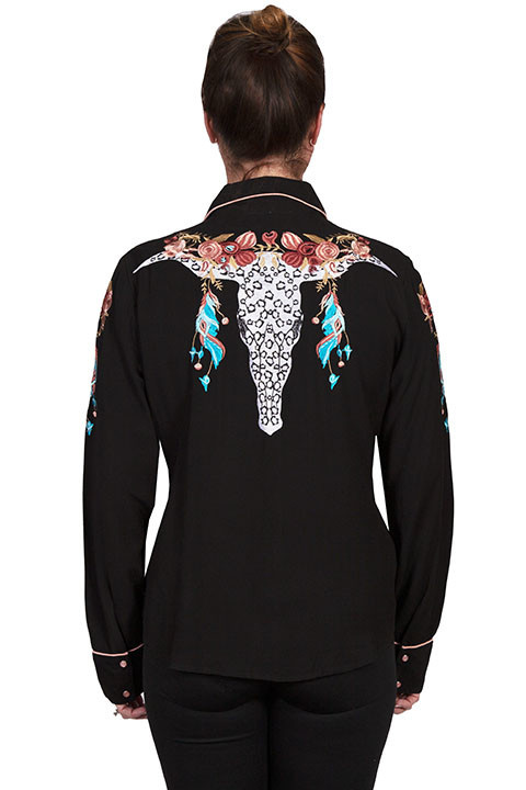 Scully Leather Women's Scully Longhorn Floral Embroidered Shirt