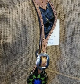 Alamo Beaded Medallion Spur Straps Black Gator Ladies