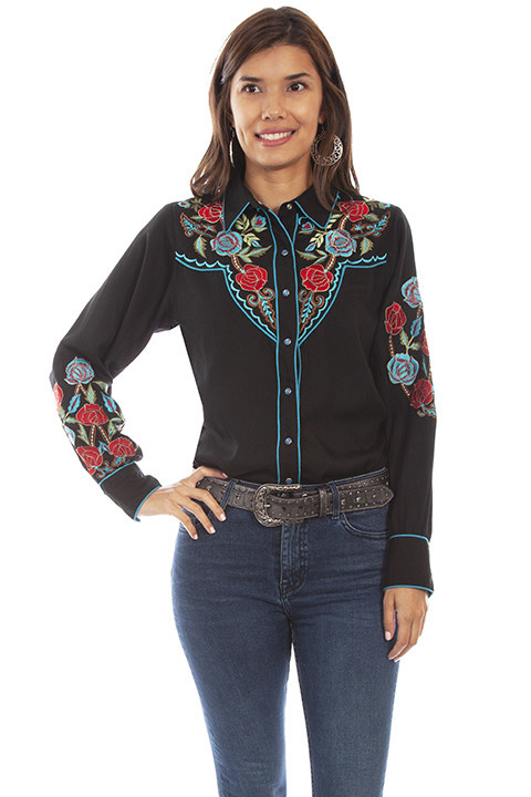 Scully Leather Women's Scully Western Floral Embroidery Shirt