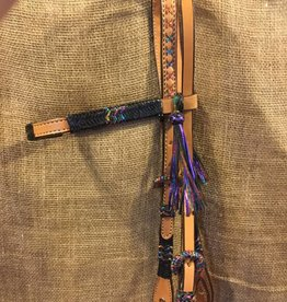 Alamo Straight Browband Headstall Black Rawhide - Horse