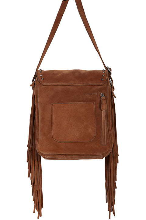 Scully Leather Handbag - Turquoise Concho with Fringe