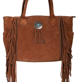 Scully Leather Handbag - Turquoise Concho with Fringe Tote