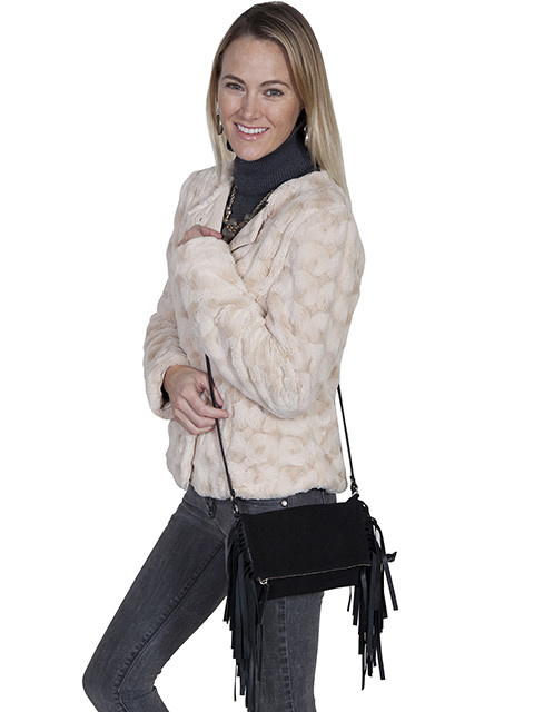 Scully Leather Handbag - Suede with Fringe