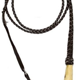 Showman Braided Leather Bull Whip, Wood Handle - 10' Long