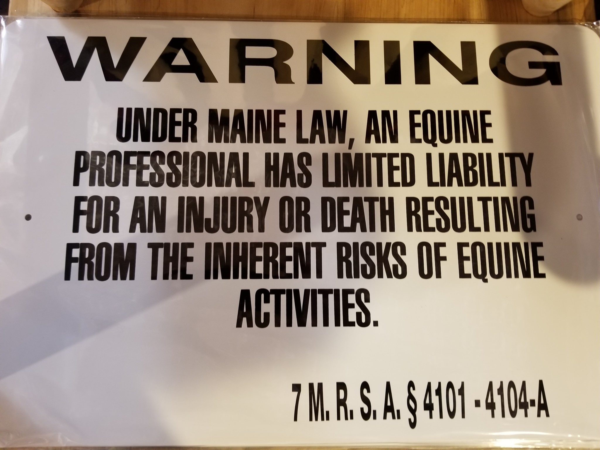 "State of Maine Equine Liability Notice - 12""x18"""