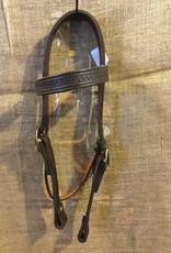Circle L Western Headstall Rope Tooled Chocolate - Full
