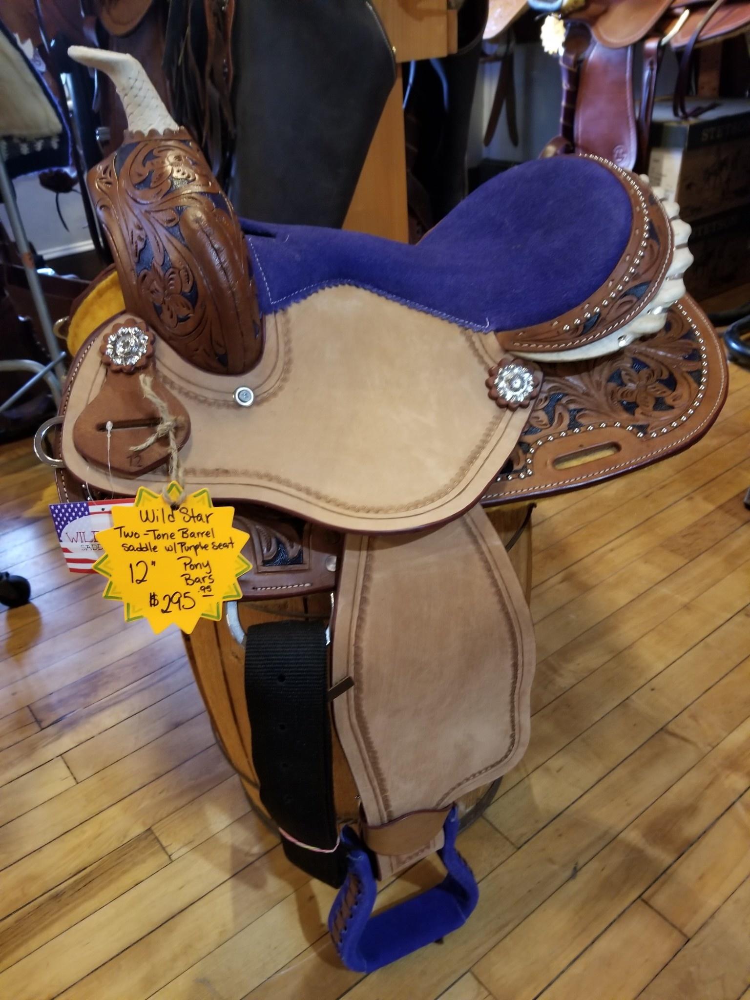 "12"" PONY BAR Wild Star Two-Tone Barrel Saddle (Purple)"
