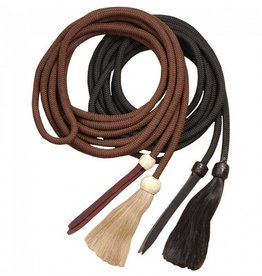 "Tough1 Cord Mecate Reins With Tassel Black 5/8"" x 22"