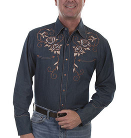 Scully Leather Men's Scully Longhorn & Rose Embroidered Denim Shirt