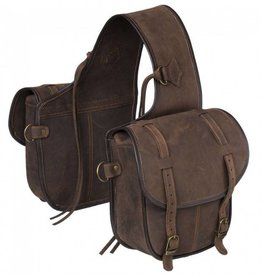 Tough-1 Soft Leather Saddle Bag - Brown
