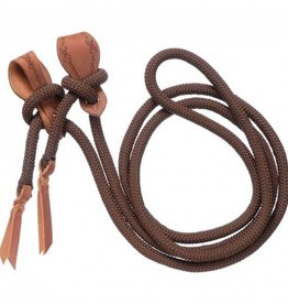 "Tough-1 Rope Rein W/ Slobber Strap - Brown 5/8"" x 10"