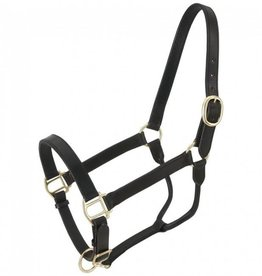 Tough-1 Triple Stitch Leather Halter - Black, Horse