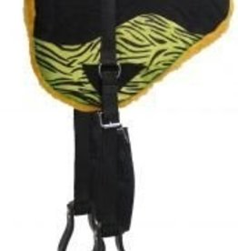 Showman Showman™ Hair on Zebra Print Suede Leather Bareback Pad - Lime Green