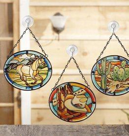 Giftcraft Inc. Hanging Western Stained Glass Sun Catcher