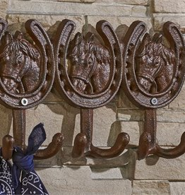 Giftcraft Inc. Cast Iron Horse & Horseshoe Design Wall Hook