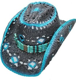 WEX Diamond Hole Straw Hat - Blue Black