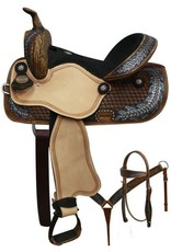 "Double T 15"" FQHB Barrel Saddle w/Oak Leaf Design - Includes HS/BC!"