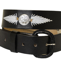 WEX Adult - Black Leather Belt w/White Lacing & Conchos (REG $24.95 now $5 OFF!)