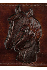 Stitched Leather Billfold, Brown w/Horse