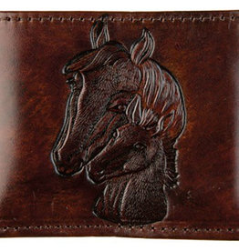 WEX Stitched Leather Billfold, Brown w/Horse