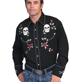 Scully Leather Men's Scully Skull/Roses Snap Front Shirt
