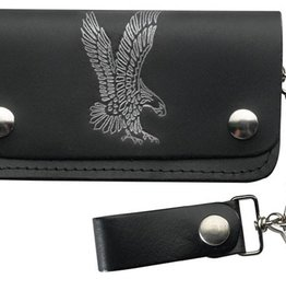 WEX Wallet - Black Leather with Eagle & Chain