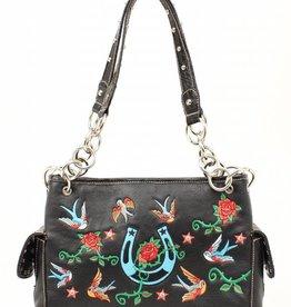 Handbag - Roses & Birds Black (Reg $65.95 now 40% OFF!)