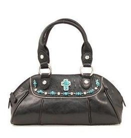 Handbag - Satchel w/ Turquoise Cross Black
