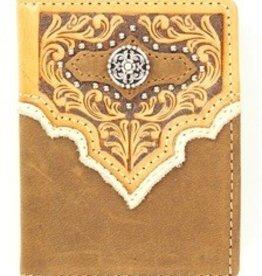 Nocona Wallet - Nocona Brown Tooled BiFold Flip