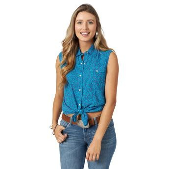 Wrangler Women's Wrangler Retro Sleeveless Shirt - Blue