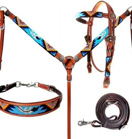Showman Showman Tack Set - 4 Piece Beaded Aztec