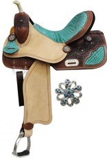 "Double T 14"" FQHB Barrel Saddle with Teal Alligator Print Accents"