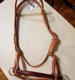 Circle L Circle L Side Pull with Braided Leather Nose - Horse