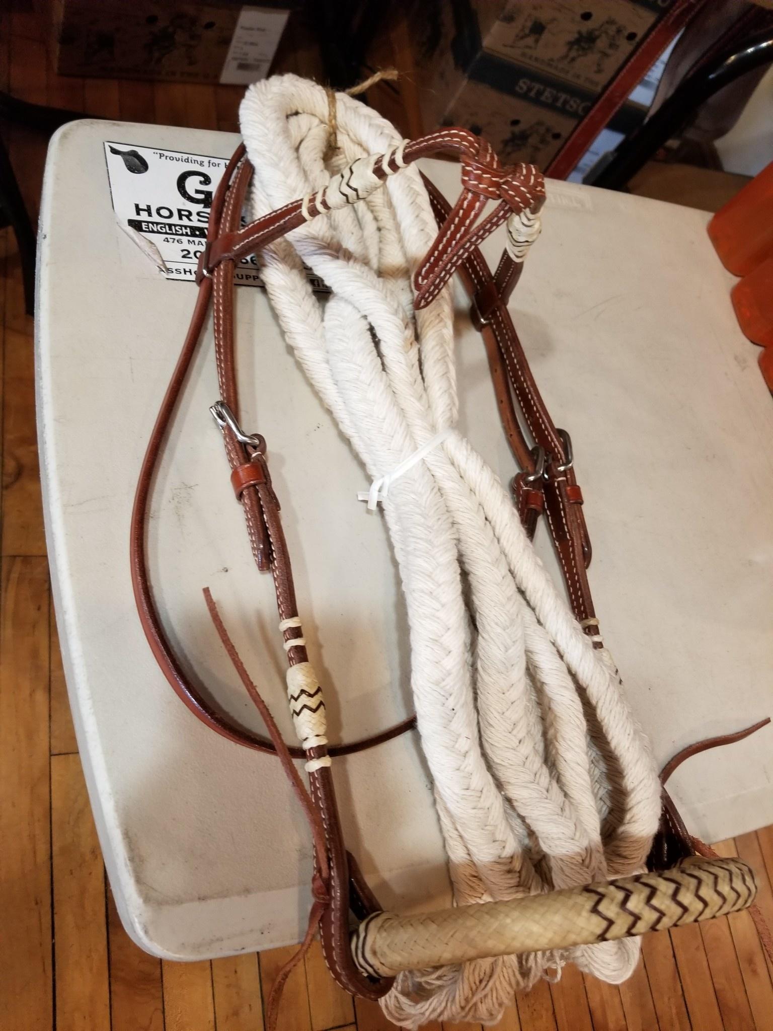Lamprey Bosal Bridal - Rawhide Futurity with Singel Cotton Reins