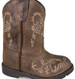 Smoky Mt Children's Hopalong Brown Waxed Distessed Boots w/Zipper- 3T