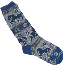 GT Reid Children's Socks - Blue/Gray/Navy Horses