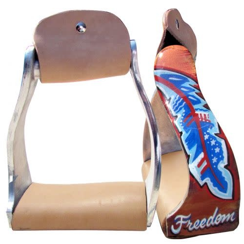 "Showman Aluminum Stirrups with ""Freedom"" Feather Design"