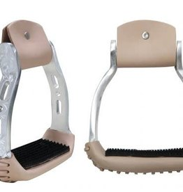 Showman Aluminum Barrel Racing Stirrups, Engraved - Silver