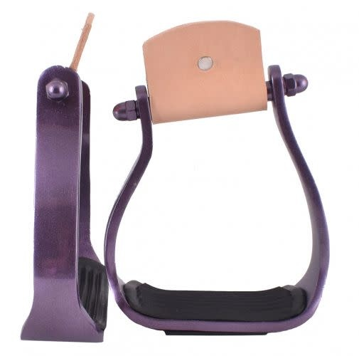 Showman Angled Aluminum Stirrups - Purple
