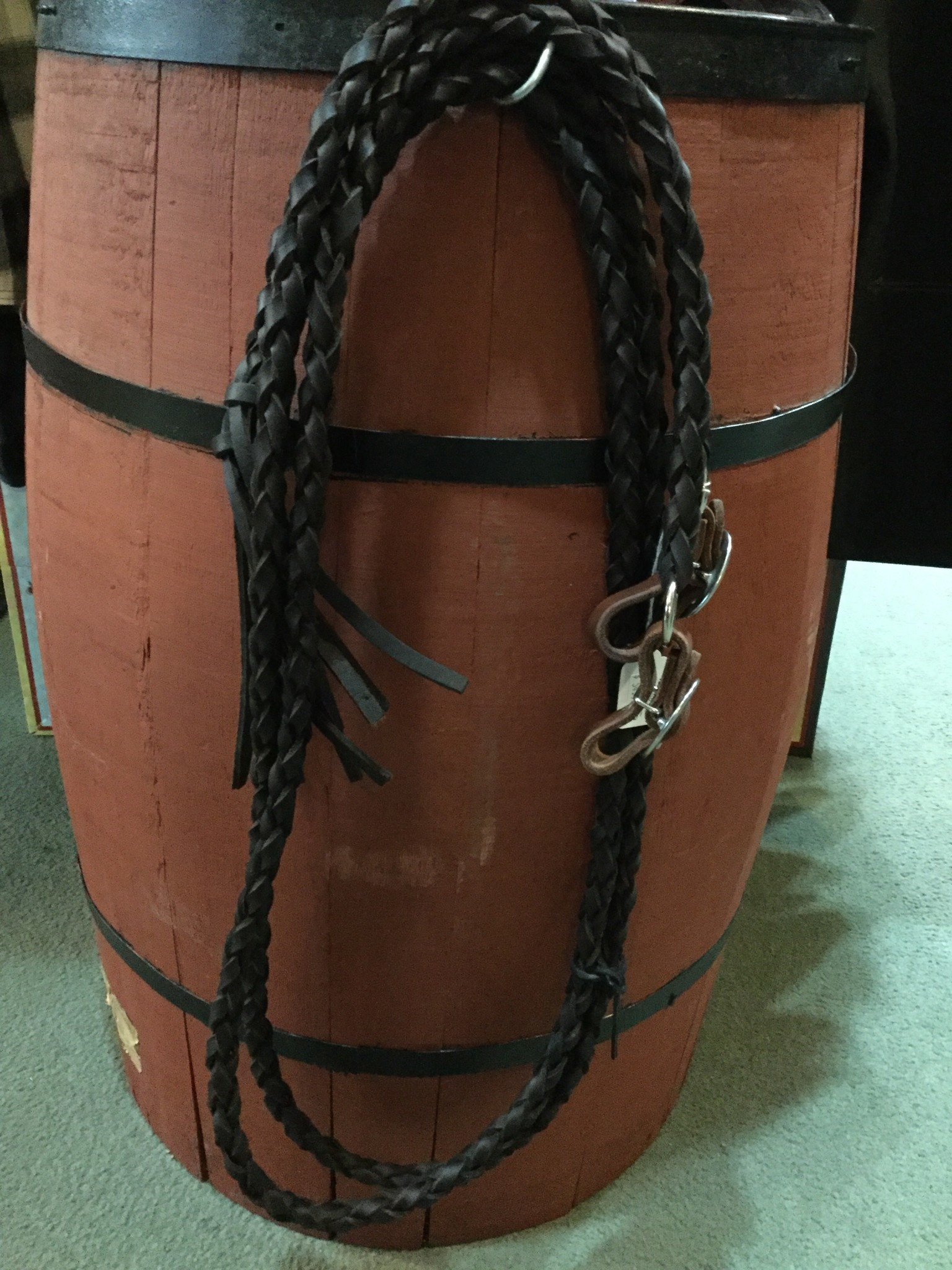 Circle L Round Braided Leather Split Reins - 7'