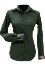 Royal Highness Microfiber Breathable Button Show Shirt w/Contrast Trim - Olive XS