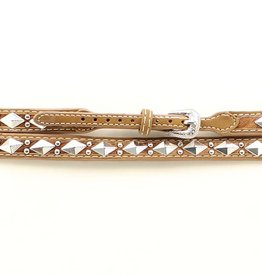 "Hat Band - 3/8"" Leather Band with Diamond Conchos"