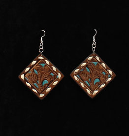Earrings - Leather with Turquoise Accents