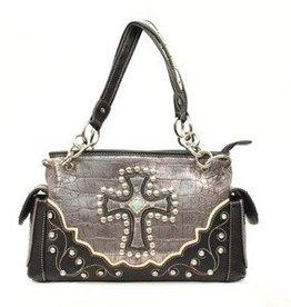 "M & F Handbag - Satchel, Silver - 13""x4""x8.5"""